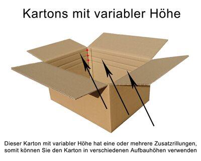 45 Faltkarton 200x200x100-200mm VARIABLE HÖHE 1wellig Versandkarton Verpackung
