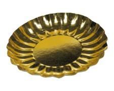 Pappteller rund gold 21 cm Durchmesser, Rand wellig,  2 Stk.