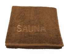 Saunatuch Wellnesstuch mit Stickerei Sauna 60°waschbar 70x200cm dunkelbraun