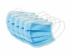 Mundschutzmaske 3-lagig mit Nasenbügel und Ohrschlaufe blau, 20 Stk.