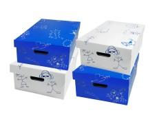 Sammelboxen-Set Kindermotiv Zeichnung blau/weiß, 350x280x150mm stapelbar, 4 tlg.