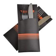 Pochetto Bestecktaschen 200x85mm schwarz orange Streifen Serviette, 520 Stk.