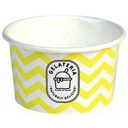 Eisbecher aus Papier Zick Zack Motiv gelb 125 ml 4oz, 50 Stk.