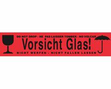 1-PACK Packband Klebeband OPP-919NN, 50mmx66m, rot mit Aufdruck VORSICHT GLAS