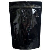 Standbodenbeutel schwarz GLOSS Alu/PET Aromaschutzventil 160x230x90mm, 500 Stk.