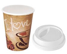 Kaffeebecher CoffeeToGo Premium I LOVE COFFEE mit Deckel 200 ml, 50 Stk.