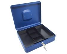 Geldkassette aus robustem Stahl mit herausnehmbaren Münzfächern 300 mm, blau