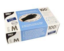 Latex Einweghandschuhe schwarz mit Gripstruktur puderfrei Größe M, 100 Stk.