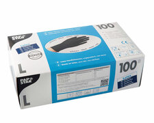 Latex Einweghandschuhe schwarz mit Gripstruktur puderfrei Größe L, 100 Stk.