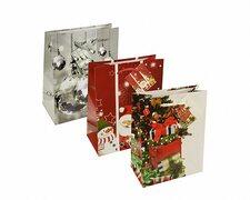 Weihnachtsgeschenktaschen Lacktragetaschen mittel 23x18x10cm, 10 Stk.