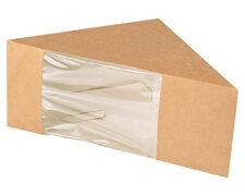 Bio-Sandwichboxen Pappe mit Sichtfenster aus PLA 123x123x82mm braun, 50 Stk.