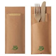 Bestecktaschen 20x8,5 cm braun 100% fair mit naturfarbener Serviette, 520 Stk.