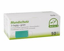 Mundschutz aus 3-lagigem Vlies 9 cm x 17,5 cm mit Nasenbügel, grün, 50 Stk.