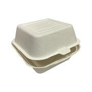 Burgerboxen ToGo groß 153x147x86mm aus Zuckerrohr nature weiß , 50 Stk.