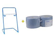 Bodenständer für Putztuchrollen inkl. 2 x 22cm breite 1000 Blatt Rollen