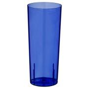 Longdrinkglas 0,3l | 300ml PS mit Eichstrichen blau, 10 Stk.