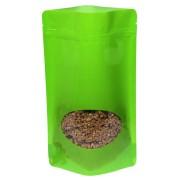 Standbodenbeutel PET hellgrün glänzend, mit Fenster, 110x185x65mm, 1000 Stk.