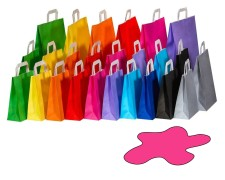 Papiertragetaschen Papiertaschen Flachhenkel 18x8x22cm pink, 70gr. 50 Stk.
