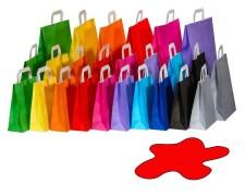 Papiertragetaschen Papiertaschen Flachhenkel 22x10x28cm rot, 70gr. 50 Stk.