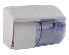 Toilettenpapier-Spender aus Kunststoff, 2-fach, absperrbar, weiß
