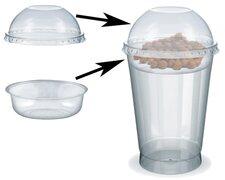Feinkostbecher für Salat, Müsli, Joghurt mit Einsatz + Deckel 400 ml, 100 Stk.