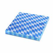 Servietten 33 x 33 cm 3-lagig 1/4 Falz BAYERN Raute blau, 20 Stk.