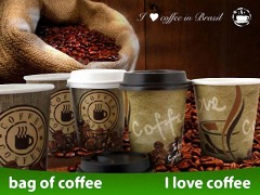 Kaffeebecher CofeToGo Pappbecher I LOVE COFFEE 12oz 300 ml, 50 Stk.