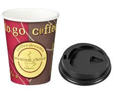 Kaffeebecher Coffee ToGo COFFEE DREAMS mit Deckel schwarz  8oz. 200 ml, 100 Stk.
