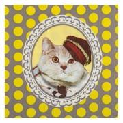 Motivservietten 3-lagig, 33 x 33 cm, Katze, gelbe Punkte, 20 Stk.