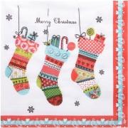 Weihnachtsservietten 3-lagig 33 x 33 cm Weihnachtssocken, 20 Stk.