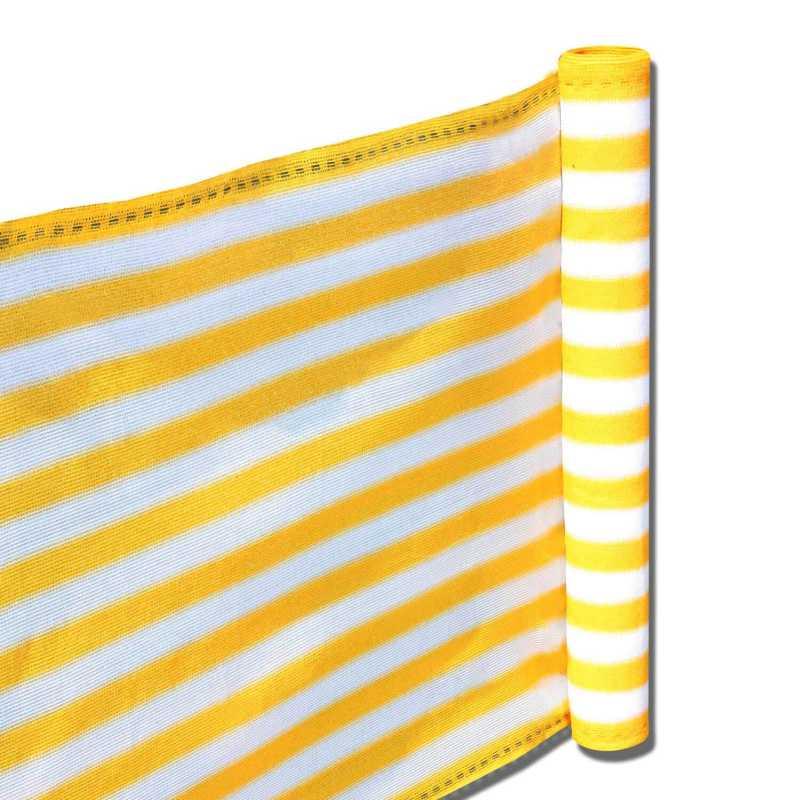Balkon Terrassen Sichtschutz 90cm x 5m gelb weiß wetterfest UV