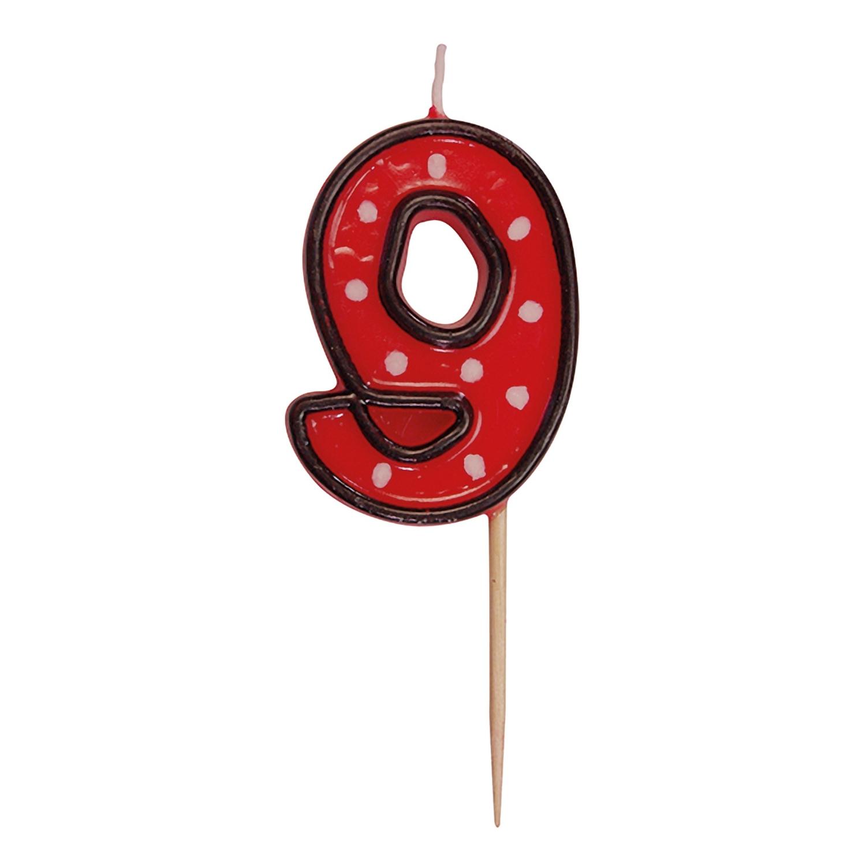 Zahlenkerze, Geburtstagskerze 9 rot, ca. 85 mm