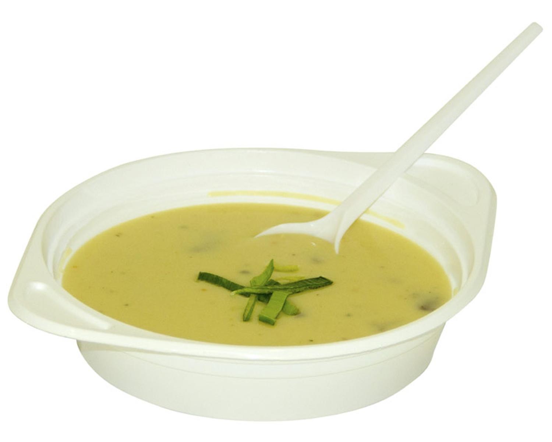 Suppenterrine Suppenteller weiß aus PS, 500 ml, mit Anfasser, 100 Stk.