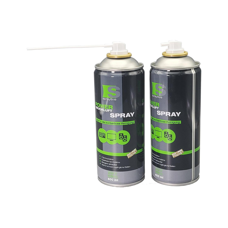 Druckluftspray Druckluftreiniger Air Duster Reinigungs mit 2 Sprühköpfen, 400 ml