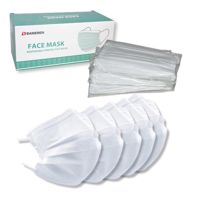 Mundschutzmaske 3-lagig 9,5 cm x 17,5 cm mit Nasenbügel, weiss, 50 Stk.