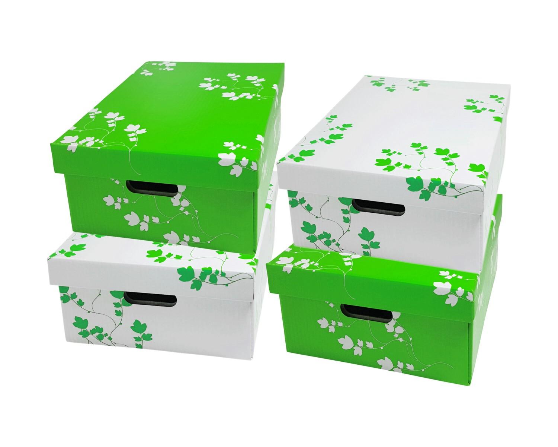 Sammelboxen-Set Flowers Blumen grün/weiß, 350x280x150mm stapelbar, 4 tlg.