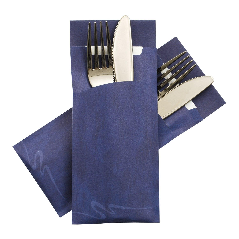 Pochetto Bestecktaschen 200x85mm blau marmor inkl. Serviette, 520 Stk.