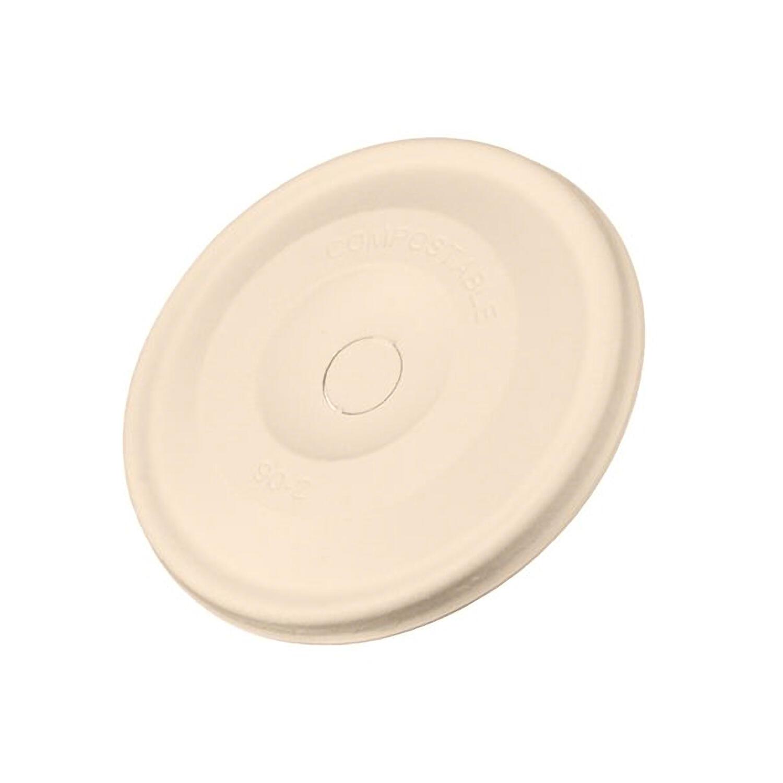 Flache Deckel für Coffee-TO-GO Pappbecher aus Zuckerrohr  Ø 90mm, 50 Stk.