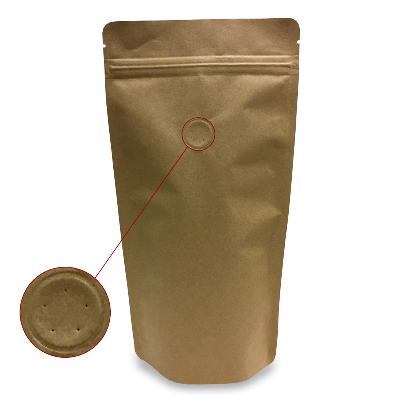 Standbodenbeutel Kraftpapier braun mit Aromaschutzventil 125x210x80mm, 500 Stk.