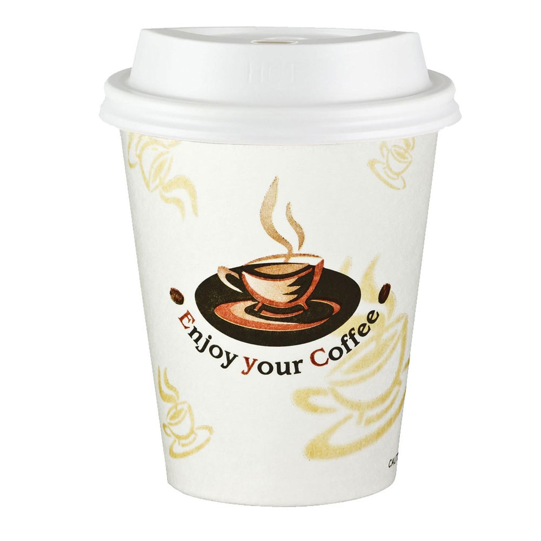 Kaffeebecher Coffee To Go ENJOY YOUR COFFEE mit Deckel weiß 300 ml,  50 Stk.