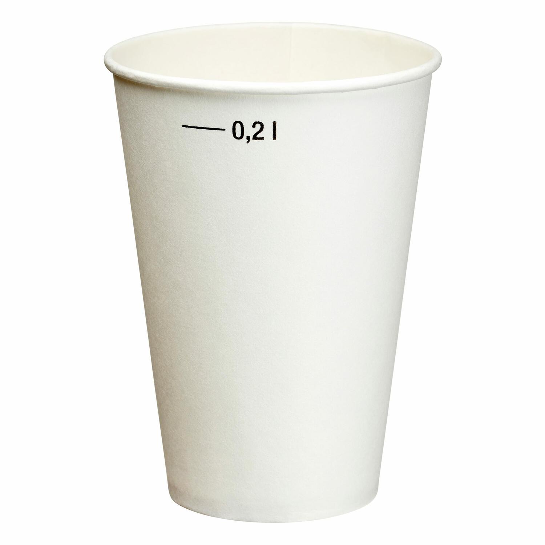 Heiß- und Kaltgetränkebecher weiß mit Eichstrich 200 ml  20 Stk.