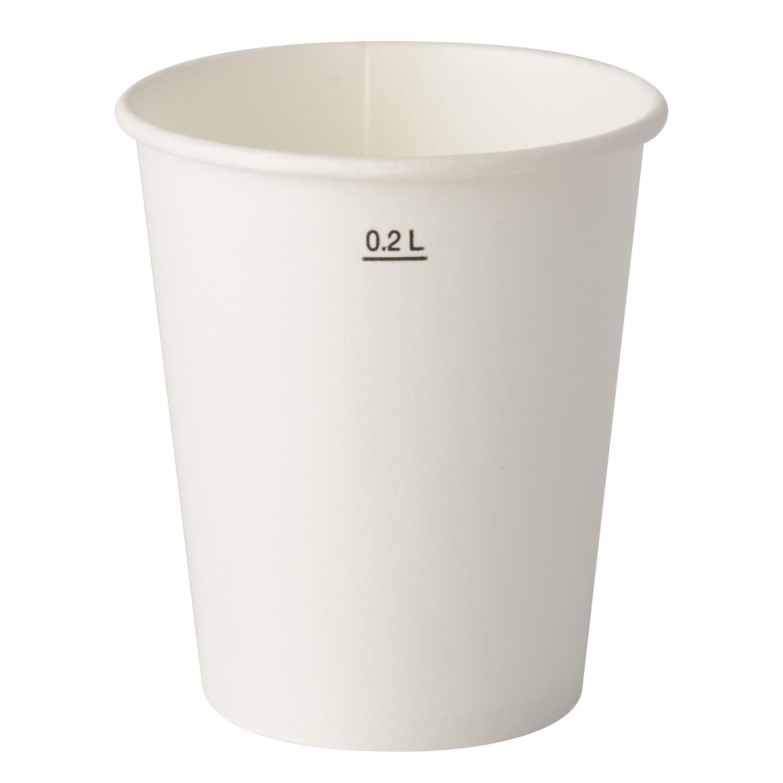 Kaltgetränkebecher Pappbecher weiß mit Eichstrich 200 ml 100 Stk.