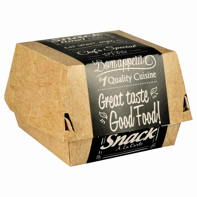 Burgerboxen aus Pappe FSC pure 12,5 x 12,5 cm Good Food groß, 50 Stk.
