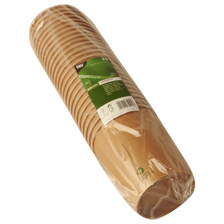 Bio-Suppenbecher Pappe pure rund 940 ml braun biologisch abbaubar, 25 Stk.