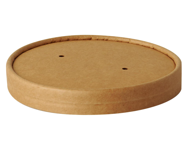 Deckel für Bio-Suppenbecher Pappe rund Ø11,5 cm braun biologisch abbaubar 25 Stk