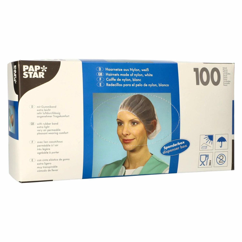 Haarnetze Kopfhauben dezente Haarfixierung aus Nylon Ø 55-62 cm weiss, 100 Stk.