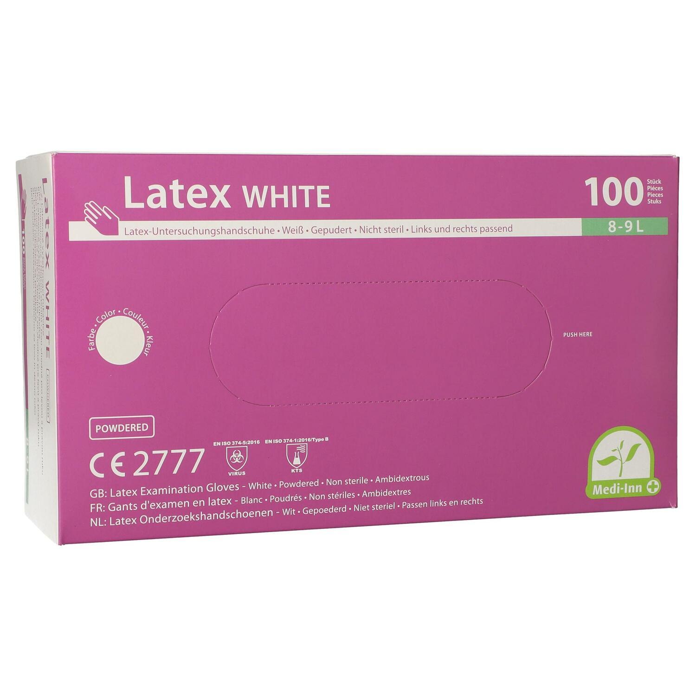 Latexhandschuhe gepudert Medi-Inn® PS weiss Größe L, 100 Stk.