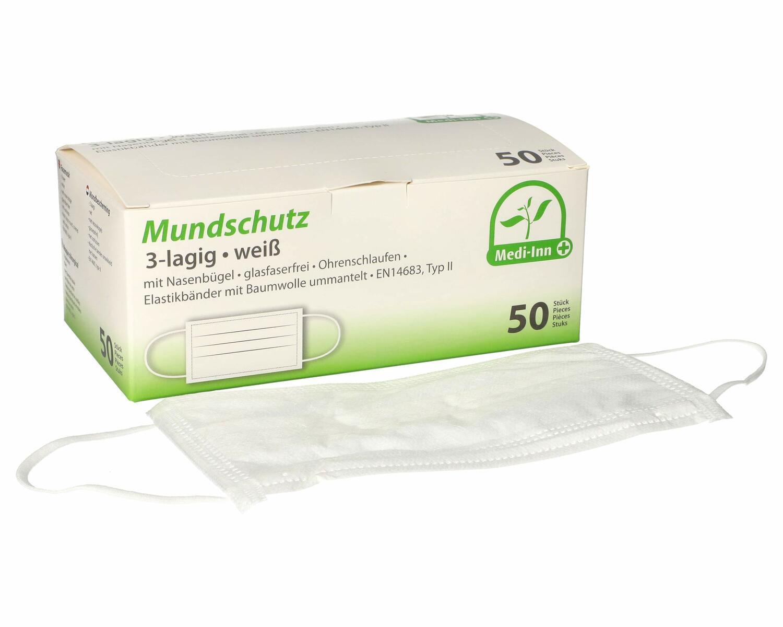 Mundschutzmasken 3-lagig Vlies 9 cm x 17,5 cm weiss medizinisch & HACCP, 50 Stk.