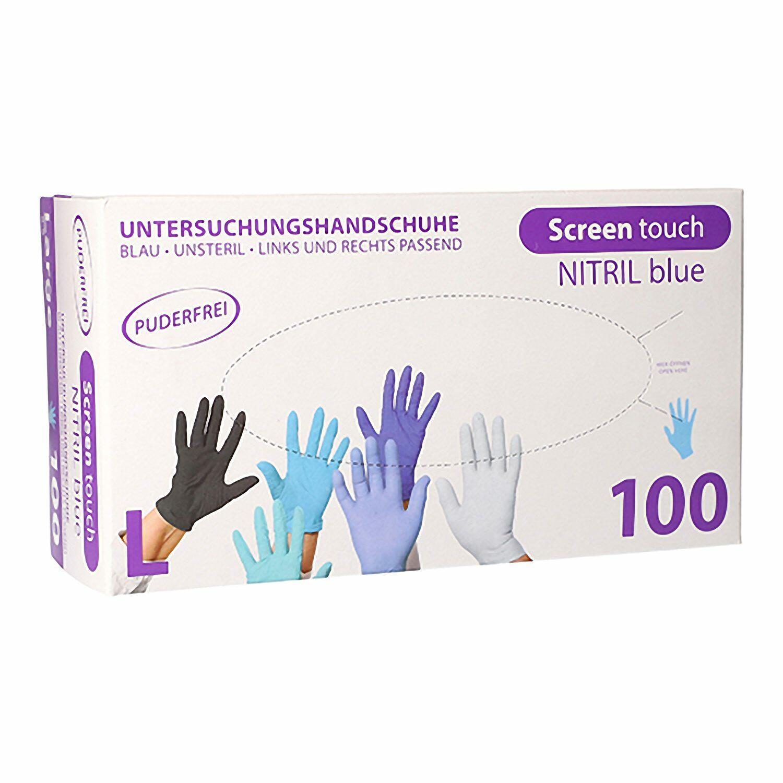 Nitril Einweghandschuhe Screen Touch puderfrei reißfest blau Gr. L, 100 Stk.