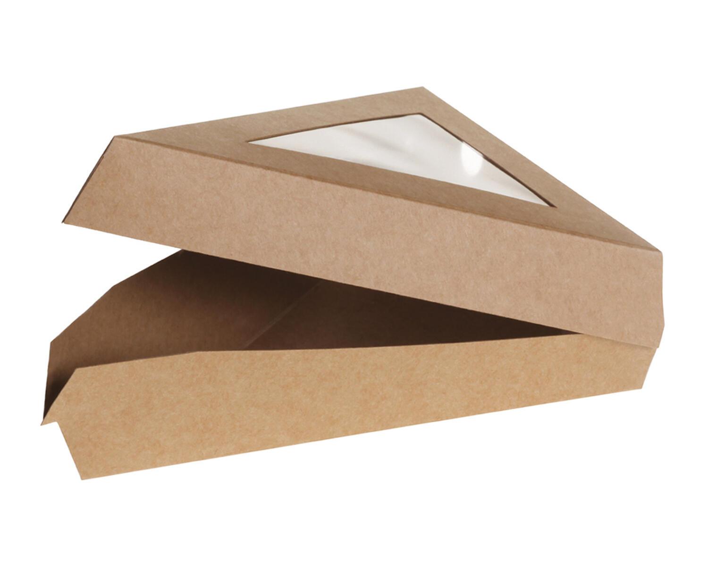 Bio Klappbox Pappe Sichtfenster für Tortenstück aus PLA 167x129x45mm, 50 Stk.